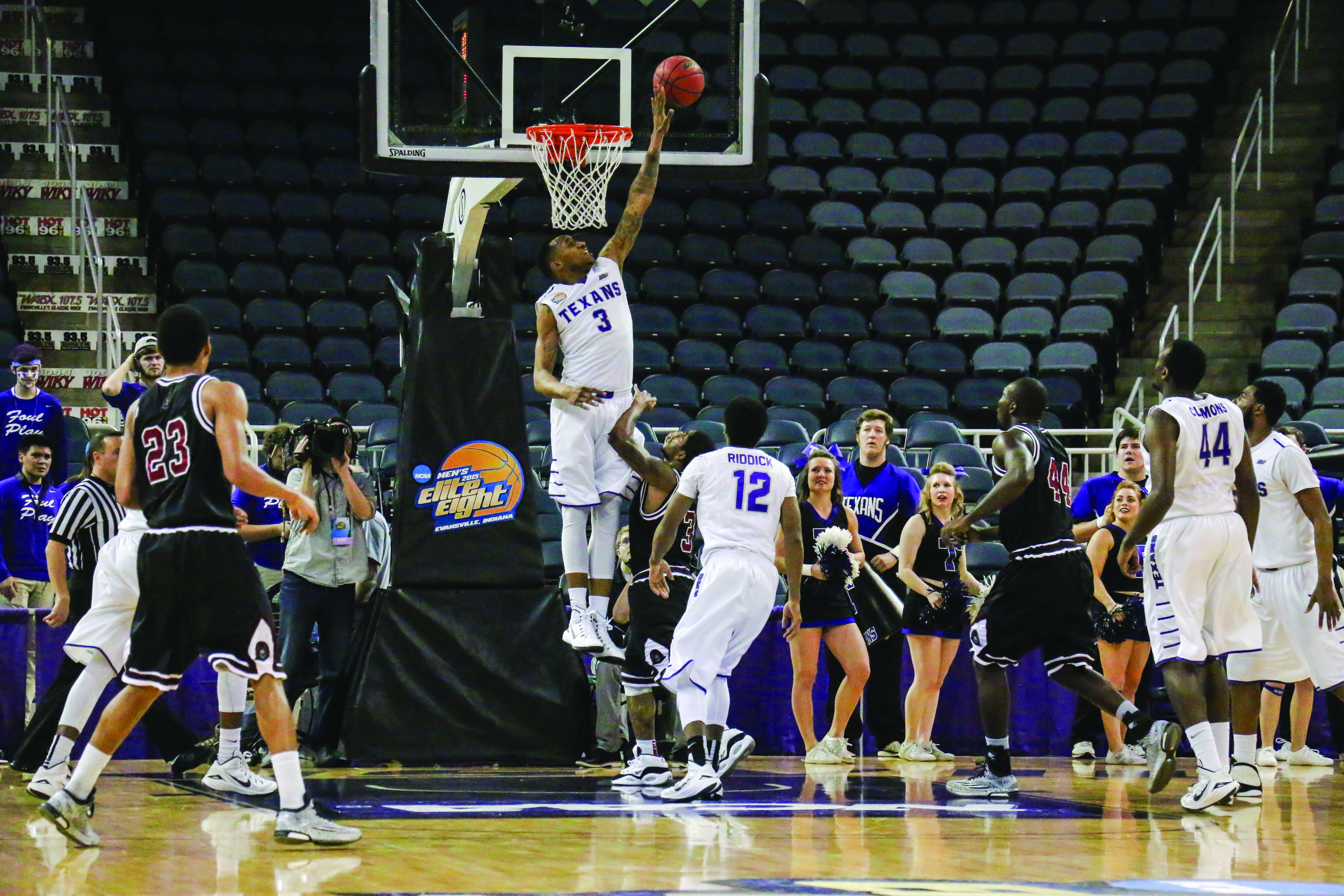 EJ Reed blocks the shot against the University of Mount Olive at the 2015 NCAA Division II Elite 8.(Photo by Cameron Cook, Texan News Service)