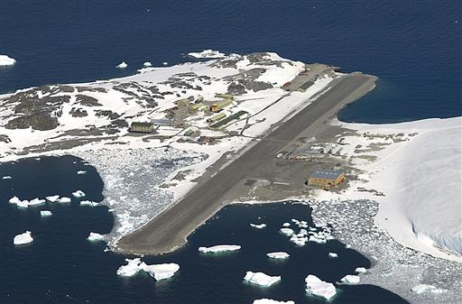 In this photo provided by the Courtesy British Antarctic Survey, Rothera, the British Antarctic Survey station is seen from the air. A daring South Pole medical rescue is underway. An airplane left a British base in Antarctica Tuesday, June 21, 2016, for the 1,500-mile trip to evacuate a sick person from the U.S. station. Athena Dinar, spokeswoman for the British Antarctic Survey, said one of two twin otter planes began the trip Tuesday, while the other is still at the Rothera station on the Antarctic Peninsula just in case. (British Antarctic Survey via AP)