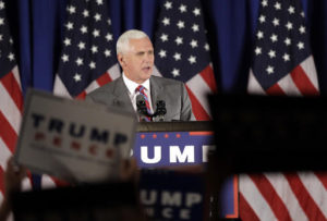 In this July 28, 2016, file photo, Republican vice presidential candidate Gov. Mike Pence, R-Ind., addresses supporters during a campaign event in Novi, Mich. Since his selection as Donald Trump's running mate, Pence has tried to stay focused on winning over conservatives skeptical of the New York billionaire. His new boss keeps getting in the way. On several occasions in the past week, the Indiana governor has found himself in direct conflict with Trump, taking a different campaign tact or running damage control after one of the Republican presidential nominee's incendiary remarks.  Photo by Carlos Osorio, AP.