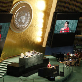 Myanmar Foreign Minister Aung San Suu Kyi speaks during the 71st session of the United Nations General Assembly at U.N. headquarters, Wednesday, Sept. 21, 2016.  Photo by Mary Altaffer, Associated Press.