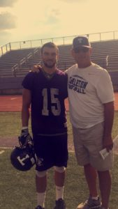 Tate and his father/coach, Todd Whitten pose together after a long day of practice. Photo courtesy of Tate Whitten.