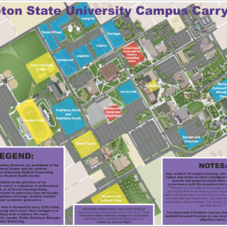 "This Campus Carry map for Tarleton points out where ""gun free"" zones are and how to store your handgun in a residence hall. Graphic by Sammie Wight, Texan News."
