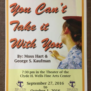 "The poster for the production, ""You Can't Take It With You."" Photo by Ashley Ford, Texan News."