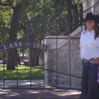 Brady Parum, the newest Texan Rider, throws her guns up. Photo courtesy of Parum's Facebook.