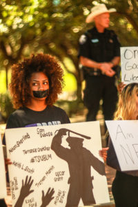 Tarleton students participated in the first Black Lives Matter protest on campus.  Photo by Cameron Cook, Texan News.