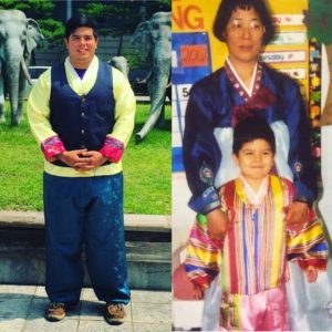 Isaiah Regeon posed in Korea wearing an original Hanbok. His grandmother stands behind him as a child wearing a traditional Hanbok for children. Courtesy photo by Isaiah Regeon.
