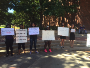 Tarleton students hold silent Black Lives Matter protest outside of the Thompson Student Center on Sep. 26-28. Photo by Quanecia Fraser, Texan News.