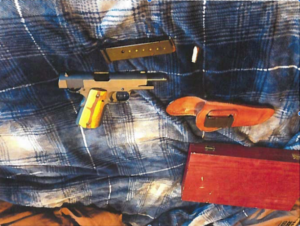This is the gun that was accidentally discharged, according to the report.  Photo courtesy of the Tarleton police report.