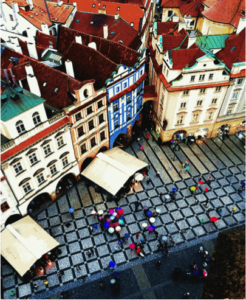 Trevor Braune won second place with his aerial shot of the old town square in Prague. Photo Courtesy of Trevor Braune.