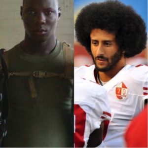 Blunt (on the right)  served in the U.S Marine Corps for six years. Photo courtesy of Adrian Blunt. NFL Player, Colin Kaepernick (on the right) Photo Courtesy of nesn.com