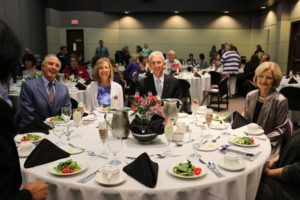 Russell and Sharon Leigon with Dr. Dominic Dottavio enjoy dinner while celebrating 40 years of the nursing department.