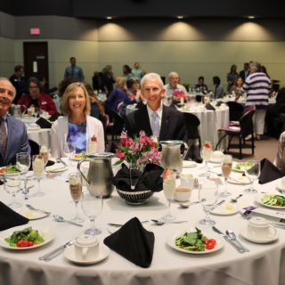Russell and Sharon Leigon with Dr. Dominic Dottavio enjoy dinner while celebrating 40 years of the nursing department. Photo by Arynn Tomson