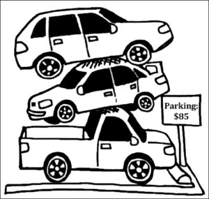 Tarleton parking permits are included in a student's tuition. Cartoon by Sammie Wight
